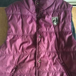American Eagle purple vest with navy blue lining.